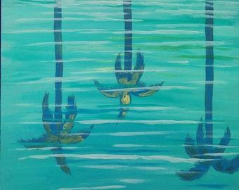 Palm tree reflection painting wall decor