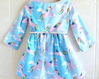 Rainbow Unicorn Girls dress-  rainbow dress, winter dress, long sleeve dress, birthday dress, unicorn dress, party dress, baby winter dress