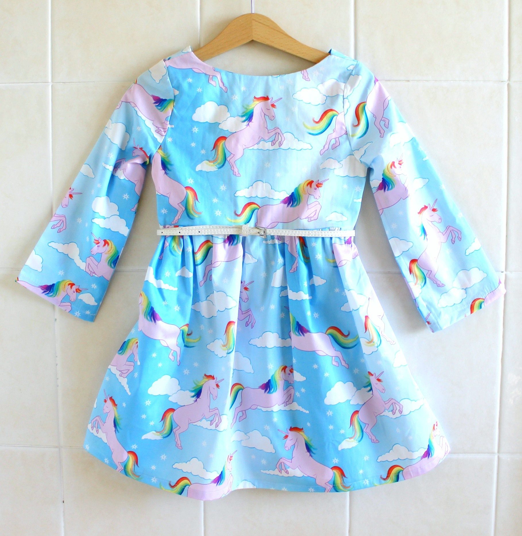 Rainbow Unicorn Girls dress rainbow dress winter dress