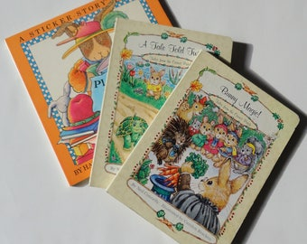 3 Vintage Kids Bunny Board Books - Bunny Magic, A Tale Told Twice & Play With Bunny - Kids Sticker Storybook, Easter Gift, Discovery Toys