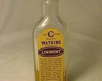 c1930s Watkins Liniment The J. R. Watkins Co. Winona, Minn., Screw Top Medicine Bottle with the original paper label, Drug Store Decor