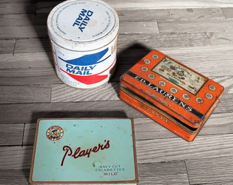 Vintage Tobacco Tins - Set of Three, Ed Laurens, Daily Mail, Players
