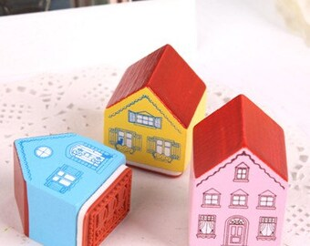 Set of 3 Little houses stamps - ideal for shop owners - thank you - merci - merci beaucoup