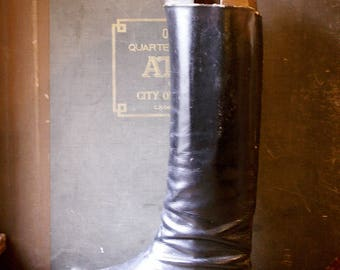 Vintage Black Leather Equestrian Riding Boots with Wood Boot Lasts from Hungary