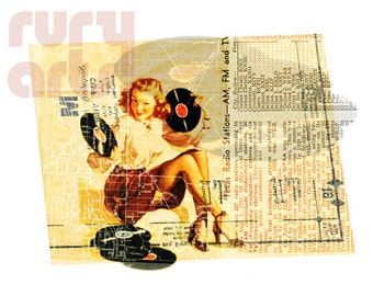 Dallas 1952: Music Gal - Giclée Print from Digital Collage