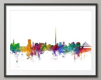 Dublin Skyline, Dublin Ireland (Eire) Cityscape Art Print (1033)