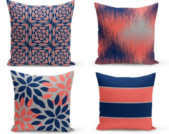 Throw Pillow Covers Accent Pillow Cover Decorative Pillow Covers  Home Decor Coral Navy Grey  Decorative Pillows