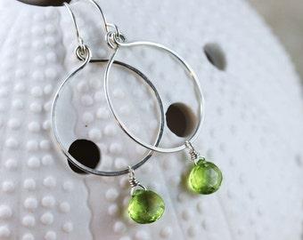 Hand Formed Green Peridot and Argentium Sterling Silver Simple Circle Loop Earrings - Ella