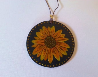 Hand Painted Wooden Ornament Sunflower