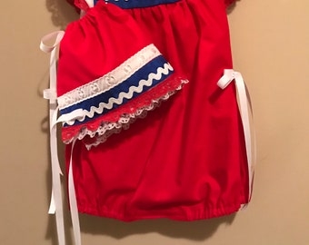Red, white and Blue Romper size 3-6 months & Bonnet with double lace ••• ONE OF A KIND ••