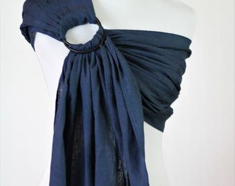 Bibetts Pure Linen Ring Sling Baby Carrier 'Cobalt' - CPSIA compliant - Infant, Toddler and Baby Carrier