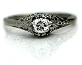 Vintage Art Deco Ring | 18K White Gold Ring|  1930s Filigree | Antique European Cut Diamond Ring|  Gift For Her