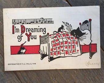 R.L. Wells 1906 Melancholy cat post card 'I'm Dreaming of you' (Grace)