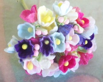 Artificial Flowers / Forget Me Nots / One Nosegay / Mixed Colors / Flocked Paper / Easter Decorations