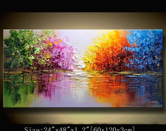 contemporary wall art,Palette Knife Painting,colorful Park painting,wall decor  Home Decor,Acrylic Textured Painting ON Canvas by Chen new20