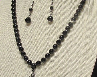 "21"" Black Glass Pearl Necklace with Pendant #20132"