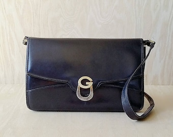Gucci shoulder bag Black leather Gucci clutch Made in Italy Gucci Women purse Gift for her Genuine Authentic Gucci purse