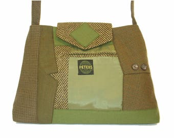 Alexander #2917 Recycled Suit Coat Handbag Everyday Shoulder Bag Medium Size Upcycled Handbag Ecofriendly Gift for Her Repurposed Suit Purse