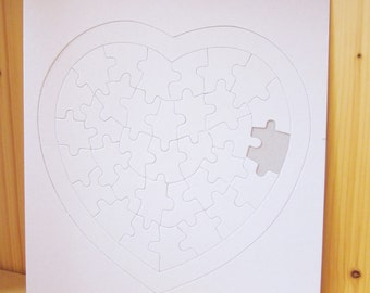 3 DIY blank heart Jigsaw puzzles, Kids Party Gifts, Kids Craft supplies, wedding guest book, wholesale paper craft, ShineKidsCrafts
