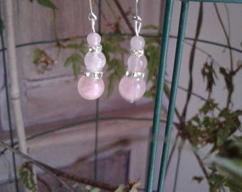 Rose Quartz natural, 925 sterling silver and rhinestone earrings