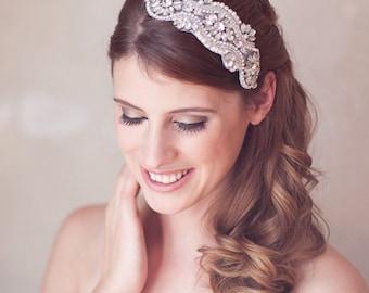 Silver Crystal Headpiece, Silver Crystal Wedding Head piece, Rhinestone Art Deco Great Gatsby Crystal Bridal Hair Accessories, Hair Comb