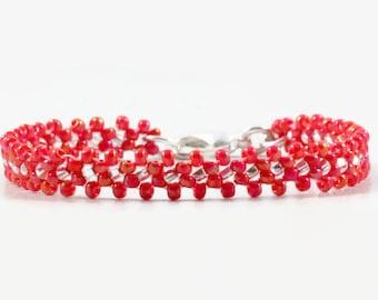 Kids Bracelet - Child Daisy Chain Bracelet - Children's Jewelry - Seed Bead Jewelry - Cherry Red Bracelet - Beaded Bracelet