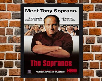 Framed The Sopranos Cult Mafia TV Series Poster A3 Size Mounted In Black Or White Frame (Ref-1 Tony Soprano)
