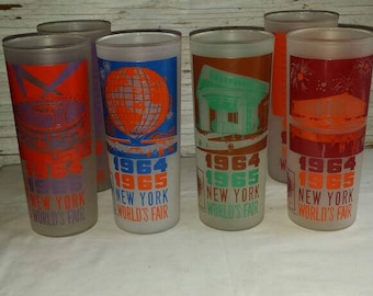5 Vintage 1964-1965 New York World's Fair Tumblers. Depicted are the Federal Pavilion, World's Fair Circus,  and Port Authority