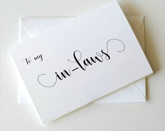 To my In-laws on my Wedding Day Card, Card for In- laws, In laws card,  Choose your own ink colors, Simplicity Collection _ HON10