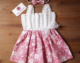 FREE SHIPPING- Handmade Baby Dress & Headband, Crochet Baby Summer Dress + Headband