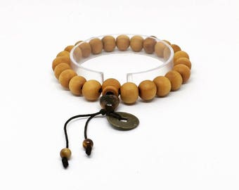 Feng Shui Coin with Tibetan Buddha Prayer Mala Black Wood Bracelet Stone Tiger Eyes Heart