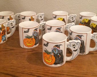 Set of 10 Vintage Halloween Mugs Witches, Pumpkins, Scarecrow, Ghosts Japan