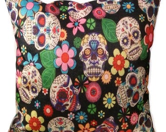 Sugar Skulls Pillow - Day of the Dead - Día de Muertos - Decorative Throw Pillow