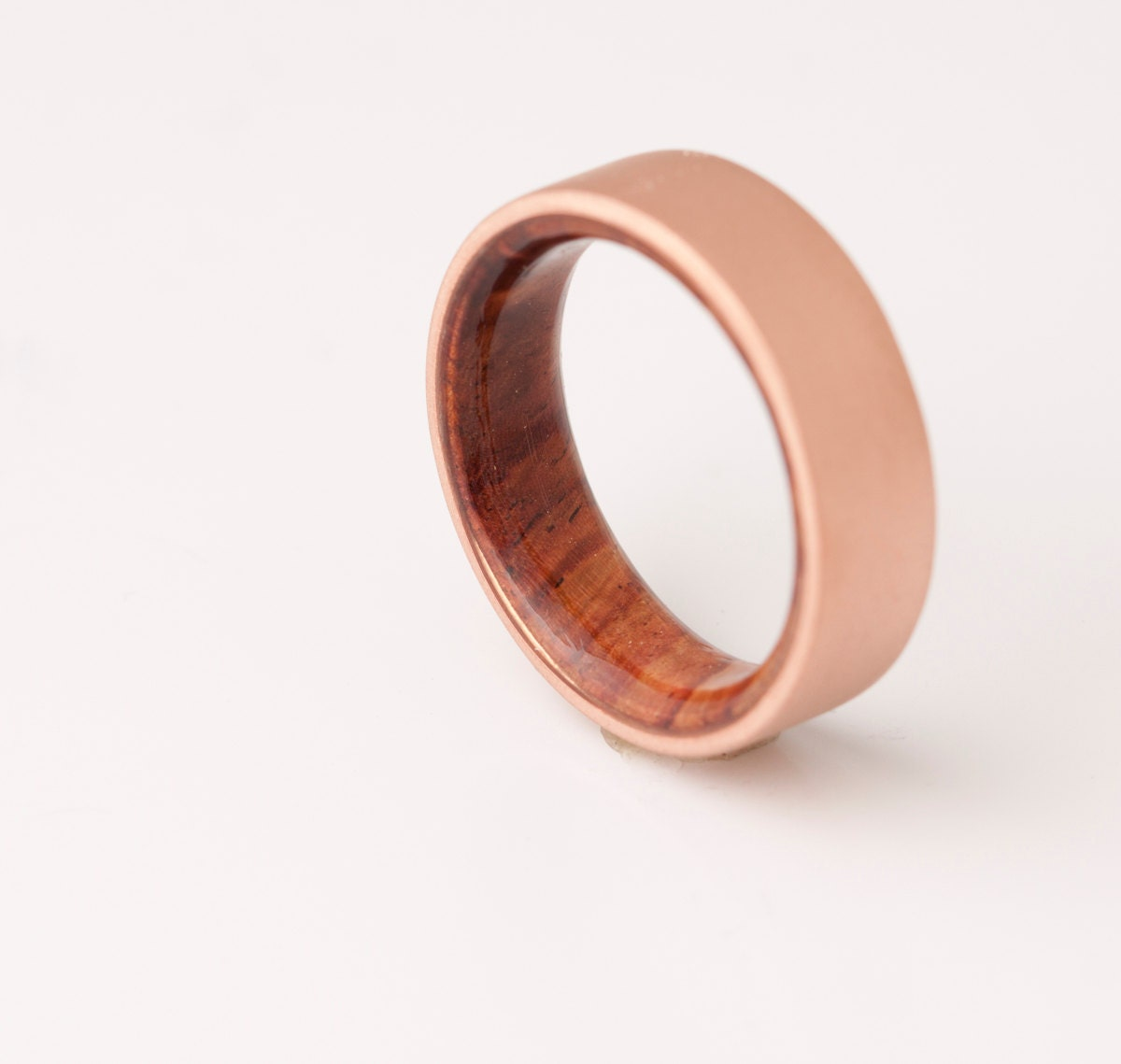 Copper Wedding Band Copper Wood Ring Cocobolo Ring