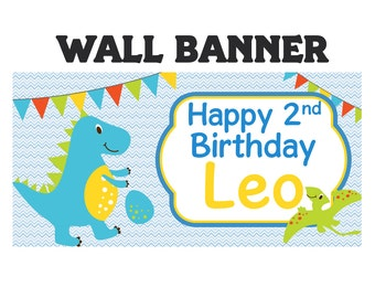 Dinosaur Happy Birthday Banner  ~ Personalized Dino Boy Party Banners, Vinyl Printed Banner, First Birthday Banner, Custom Banner