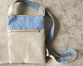 Handmade natural colour canvas and blue liberty print cross the body bag