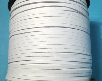 15ft White Faux Suede Cord Leather Like 3mm