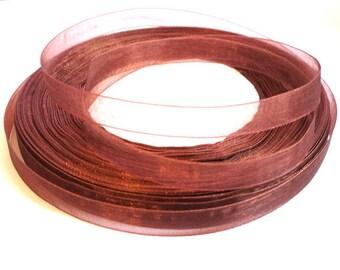 10 m Brown 10mm organza Ribbon