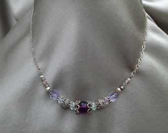 Sterling Silver and Crystal Necklace  Vintage Jewelry Vintage Necklace