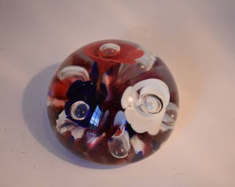 Maude and Bob St. Clair Red White and Blue Trumpet Flowers Glass Paperweight