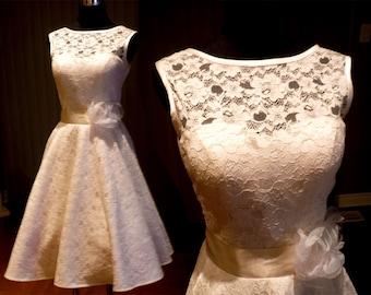 Audrey Hepburn wedding dress, 50s lace dress, plus size bridesmaid dress, lace dress