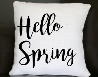 Hello Spring Pillow, Spring Pillow, Burlap Pillow, Decorative Pillow, Holiday Pillow, Easter Pillow, Throw Pillow, 16x16 Pillow