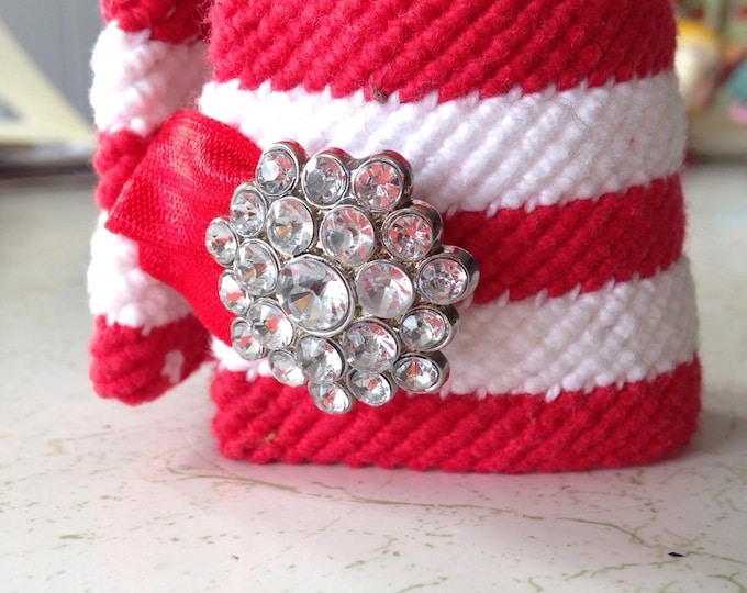 Hand woven cuff bracelet, white and red, cotton yarn with rhinestone closure.