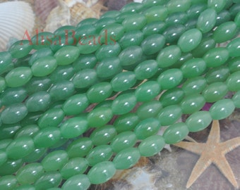 Green Aventurine,smooth rice,8x12mm,beads,15 inches