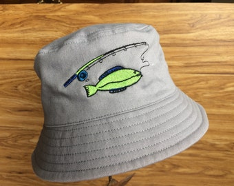 Toddler Boy Embroidered Fishing Bucket Sun Hat-Grey Bucket Hat with Fish on a Rod-Little Boys' Outdoor Cotton Twill Sunhat