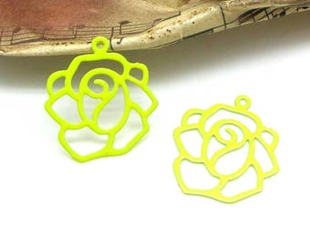 Set of 2 large lime green - 20 mm Fine filigree flower charms