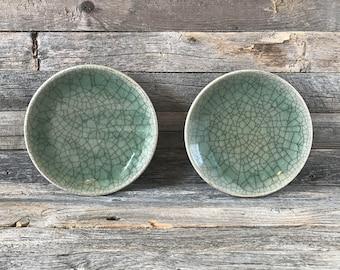 Set of 2 Vintage Somayaki Small Plates Soma Ware Green Crackle Glaze & Celadon glaze plates | Etsy