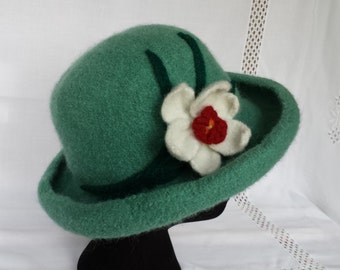 Hand Knit Wool and Mohair Felt Hat in Seafoam with Daffodil