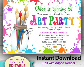 EDITABLE - Art Party D.I.Y. INSTANT DOWNLOAD Invitation, Children's Painting Party, Fun Invitation Girls, Edit at home with Adobe Reader.
