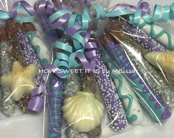 5-pk of Mini Chocolate Dipped Pretzels wth Matching Candy - Baptism, Birthday, Wedding